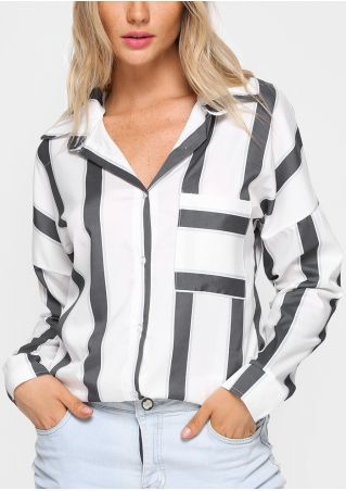 Striped Button Shirt without Neckalce