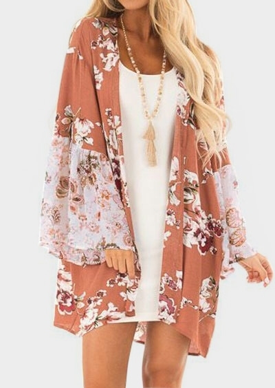 Image of Floral Long Sleeve Cardigan without Necklace
