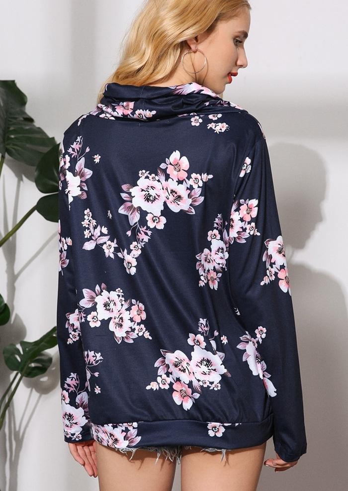c133546afa Floral Drawstring Pocket Cowl Neck Blouse - Fairyseason