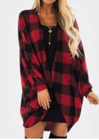 Plaid Long Sleeve Cardigan without Necklace - Red