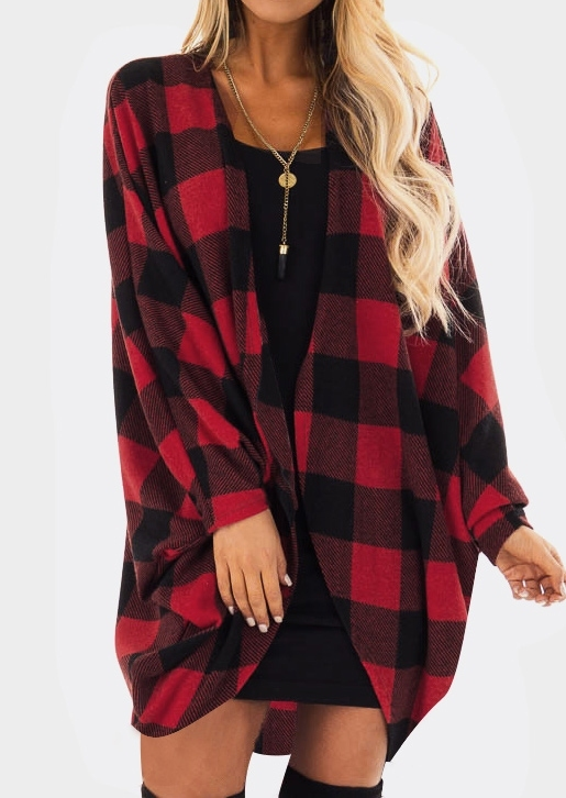 Cardigans Plaid Long Sleeve Cardigan without Necklace in Red. Size: S,M,L,XL,2XL фото