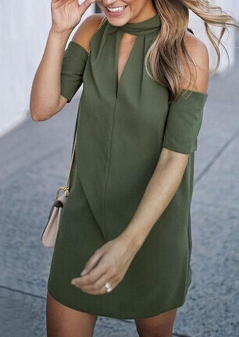 Solid Cold Shoulder Hollow Out Mini Dress – Army Green