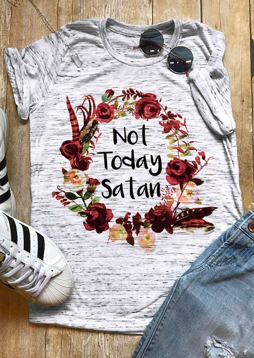 Tees T-shirts Not Today Satan Floral T-Shirt in Gray. Size: S,M,L,XL,2XL,3XL фото