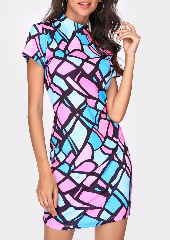 Image of Color Block Short Sleeve Bodycon Dress