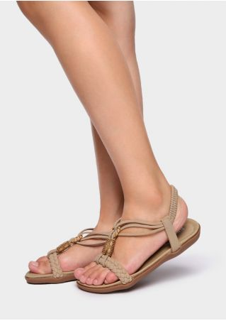 Solid PU Braided Flat Sandals