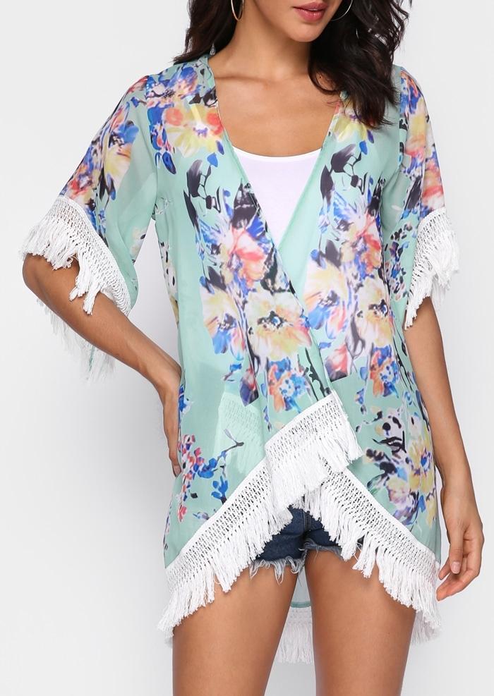Image of Floral Asymmetric Tassel Splicing Cardigan