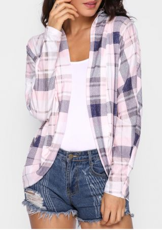 Plaid Batwing Sleeve Cardigan