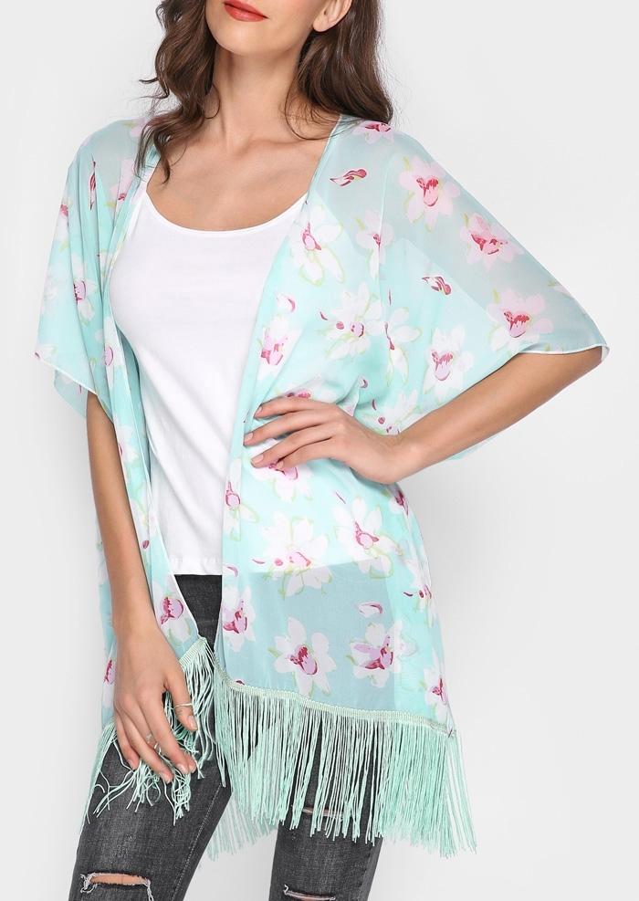 Image of Floral Fringe Slit Batwing Sleeve Cardigan