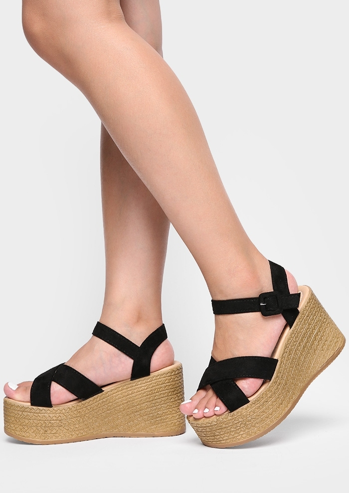 Image of Solid Cross Buckle Strap Wedge Sandals