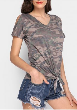 Camouflage Printed Tie Cold Shoulder Blouse