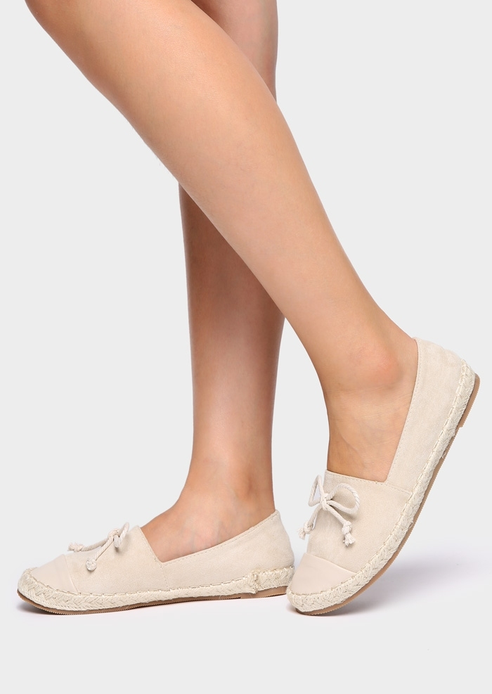 Image of Solid Bowknot Slip-On Espadrilles Flats