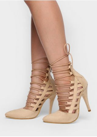 Solid Lace Up Gladiator Heeled Pumps