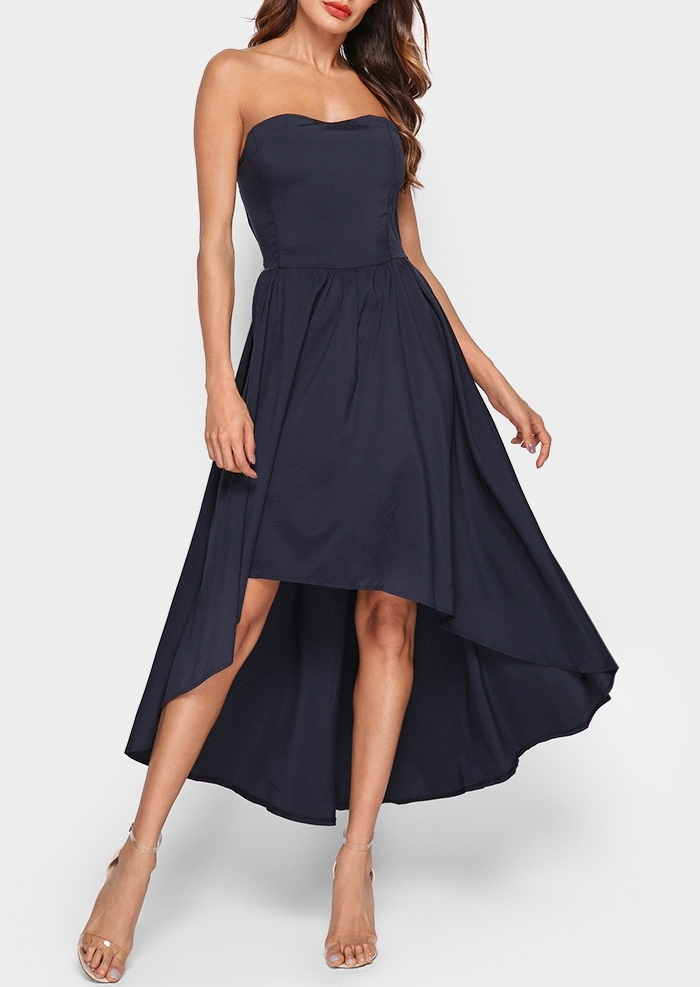 Image of Asymmetric Hollow Out Maxi Dress without Necklace