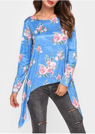 Floral Asymmetric Long Sleeve Blouse
