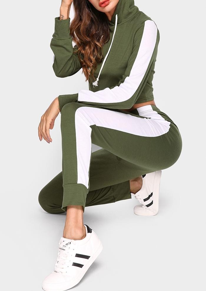 Image of Color Block Hoodie Pants Set