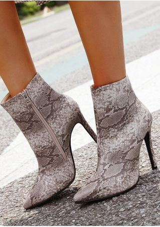 Snakeskin Printed Pointed Toe Heeled Boots