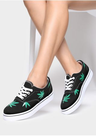 Leaf PU Lace Up Sneakers