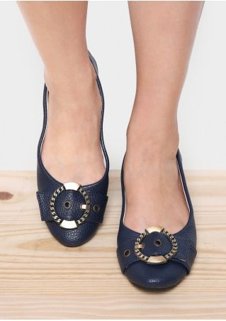 Metal Buckle Round Toe Flats