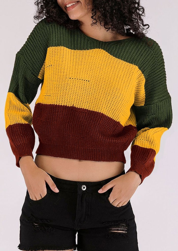 Image of Color Block Long Sleeve Hooded Sweater