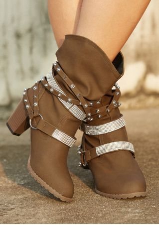 Sequined Rivet Buckle Heeled Boots