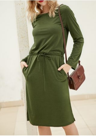Solid Slit Drawstring Casual Dress