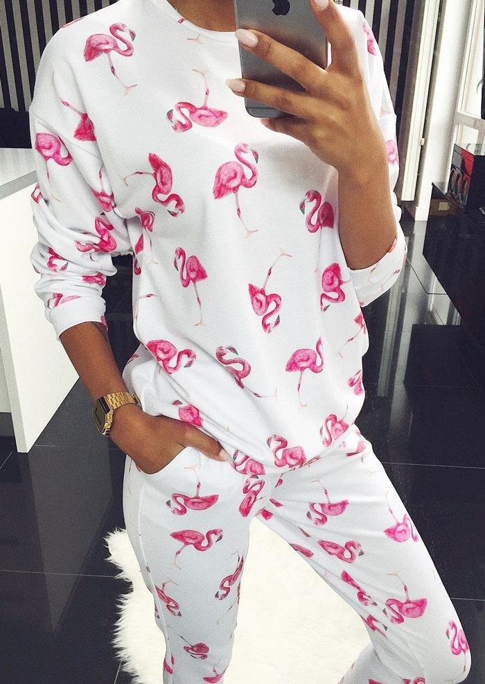 Image of Flamingo Drop-Shoulder Blouse Pants Set