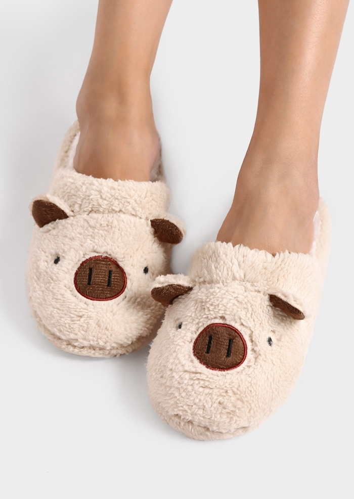Image of Cartoon Pig Faux Fur Slippers