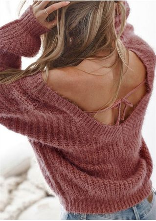 Solid Deep V-Neck Backless Loose Sweater