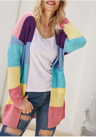 Color Block Knitted Pocket Cardigan
