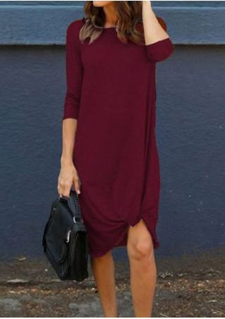 Solid Twisted Three Quarter Sleeve Casual Dress