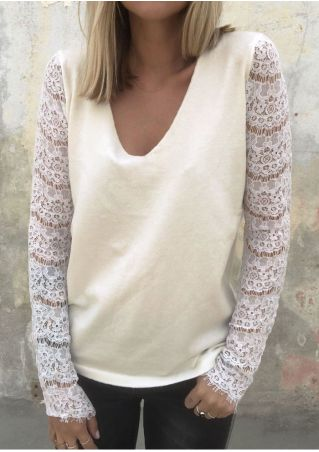 Solid Lace Splicing V-Neck Sweater