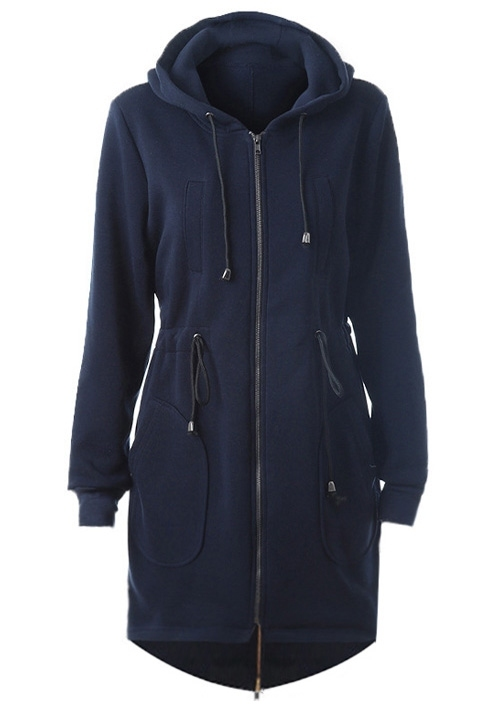 Image of Solid Asymmetric Drawstring Hooded Coat