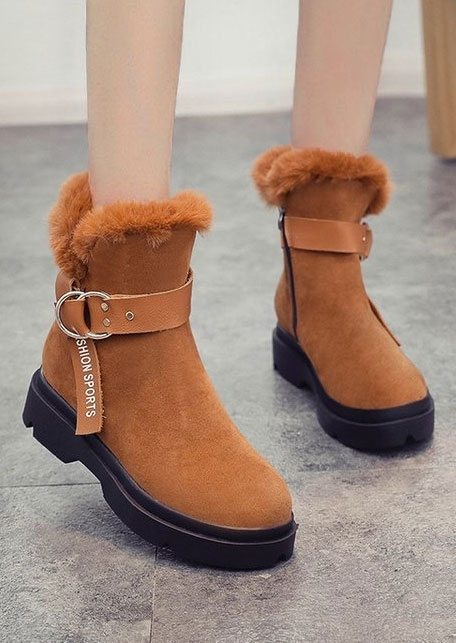 Image of Fashion Sports Buckle Faux Fur Boots