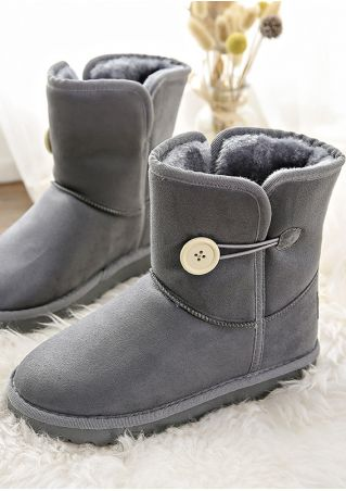 Solid Button Snow Boots