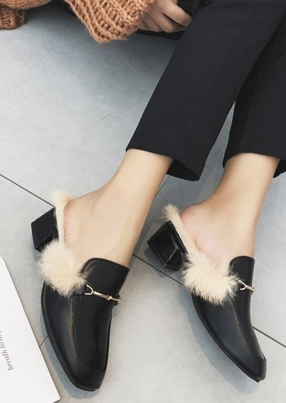 Image of Faux Fur Slippers Mules Shoes
