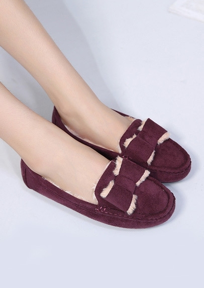 Image of Faux Fur Bowknot Slip-On Flats