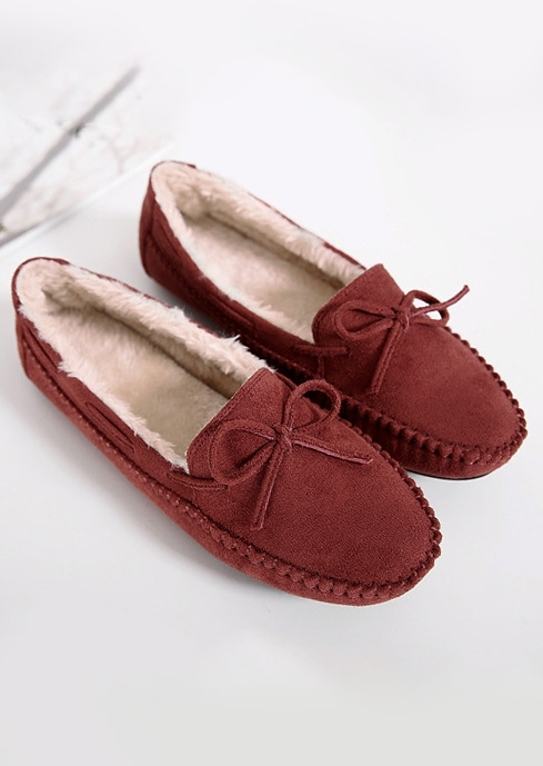 Image of Solid Bowknot Faux Fur Flats