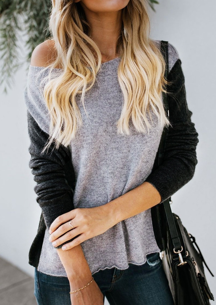 Image of Color Block One Shoulder Sweater