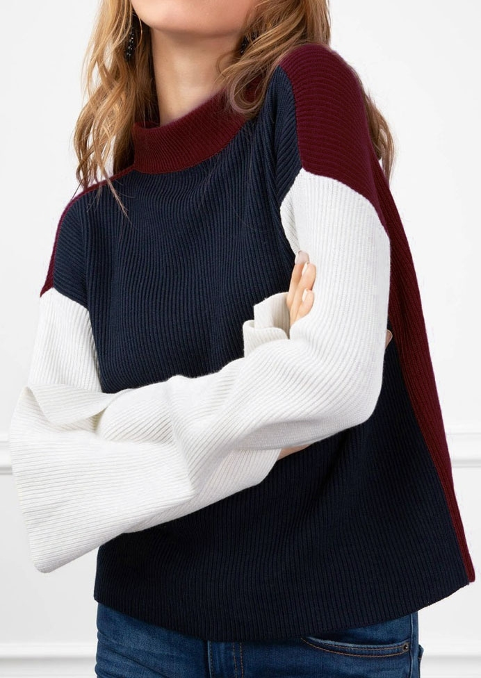 Image of Color Block Drop-Shoulder Sweater