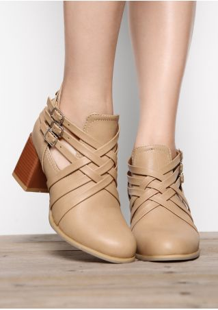 Solid Criss-Cross Heeled Boots