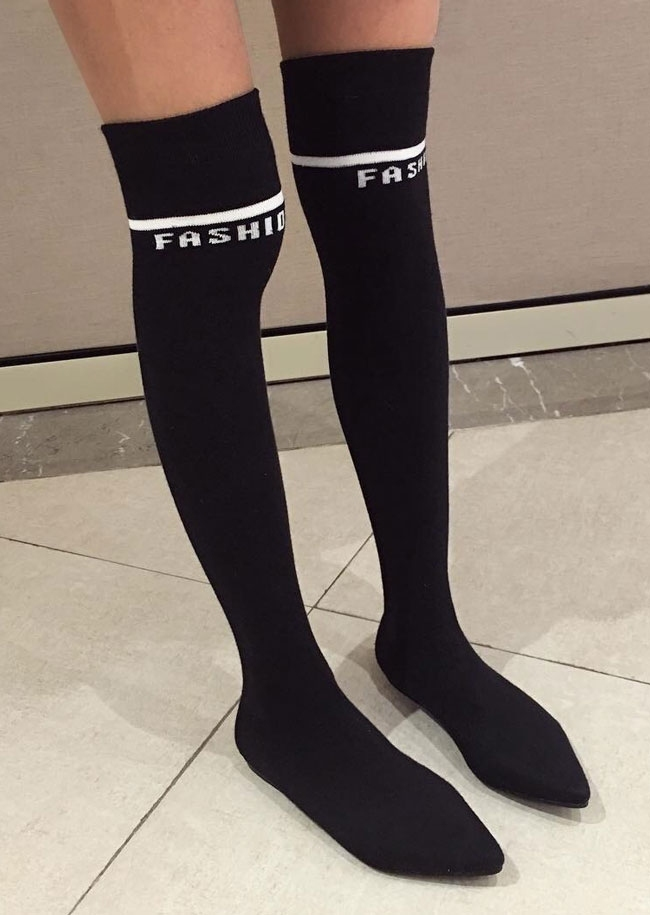 Image of Fashion Knitted Thigh High Sock Boots