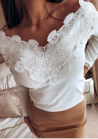 Solid Lace V-Neck Long Sleeve Blouse