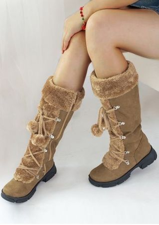 Splicing Lace Up Zipper Boots
