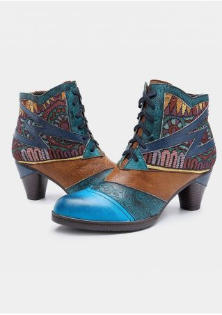 Leather Bohemia Geometric Lace Up Ankle Boots