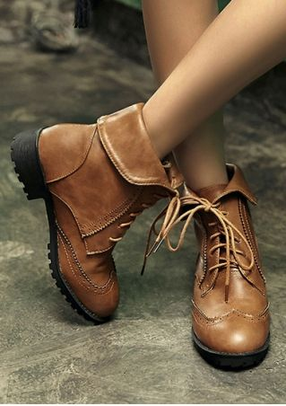 Solid Retro Lace Up Ankle Boots