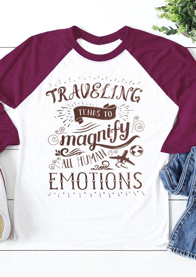 Traveling Magnify Emotions Baseball T-Shirt