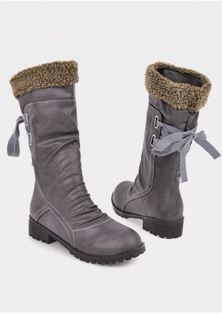 Solid Lace Up Splicing Low-Heeled Boots