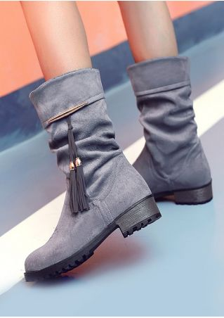Solid Tassel Low-Heeled Boots