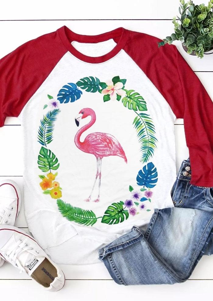 Floral Leaf Flamingo Baseball T-Shirt 434938 фото