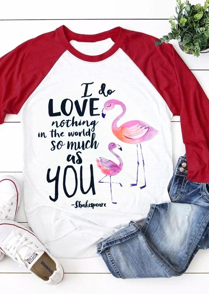 I Love You Flamingo Baseball T-Shirt